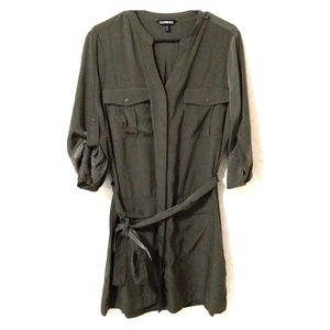 Deep olive green button up dress